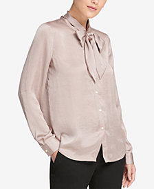 DKNY Bow-Neck Blouse, Created for Macy's