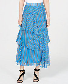 I.N.C. Striped Asymmetrical Tiered Maxi Skirt, Created for Macy's