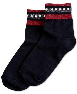 HUE Embellished Metallic-Stripe Anklet Socks in Black