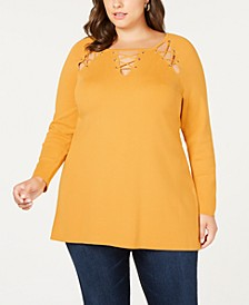 Black Label Plus Size Laced Grommet Sweater