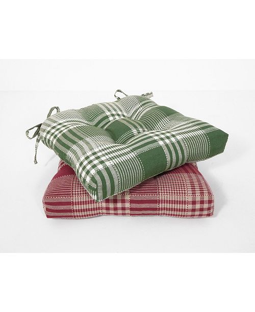 Arlee Home Fashions Exeter Check Set of Two Chair Pad Seat Cushions