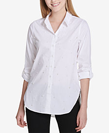 Calvin Klein Imitation Pearl Button-Up Shirt