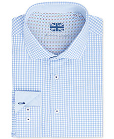Michelsons of London Men's Slim-Fit Performance Plaid Dress Shirt