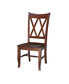 Double X-Back Chair , Set of 2