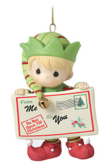 Precious Moments Joy Peace and Christmas Cheer 1st in Annual Elf Series Ornament