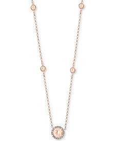 "EFFY® Morganite (3/4 ct. t.w.) & Diamond (1/3 ct. t.w.) 18"" Pendant Necklace in 14k Rose Gold"