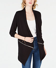 Bar III Zipper Completer Cardigan, Created for Macy's