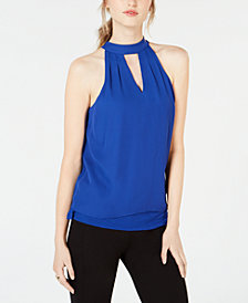 Bar III Mock-Neck Keyhole Top, Created for Macy's