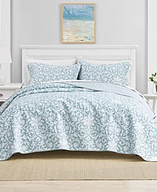 Full/Queen Mia Soft Blue Quilt Set
