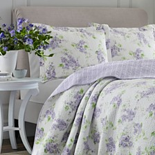 Laura Ashley Full/Queen Keighley Pastel Purple Quilt Set