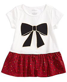 First Impressions Toddler Girls Bow-Print Peplum Tunic, Created for Macy's