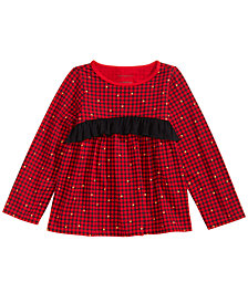 First Impressions Baby Girls Long-Sleeve Glitter-Print Plaid Cotton Tunic, Created for Macy's