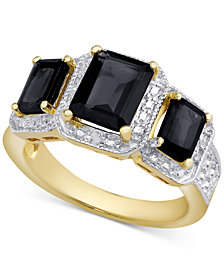 Sapphire (2-9/10 ct. t.w.) & Diamond Accent Three-Stone Ring in 18k Gold-Plated Sterling Silver (Also in Rhodolite Garnet)