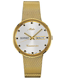 Mido Men's Swiss Automatic Commander Gold-Tone PVD Stainless Steel Mesh Bracelet Watch 37mm