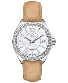 TAG Heuer Women's Swiss Formula 1 Diamond (1/4 ct. t.w.) Beige Leather Strap Watch 35mm