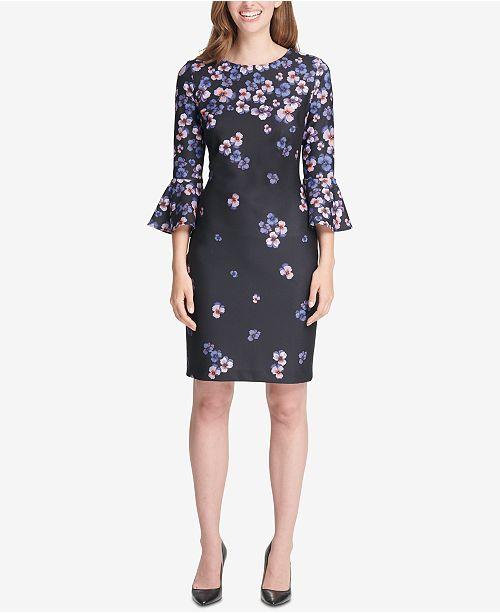 ed082fc33 Tommy Hilfiger Floral-Print Bell-Sleeve Dress   Reviews - Dresses ...