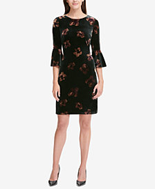 Tommy Hilfiger Bell-Sleeve Velvet Sheath Dress