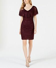Ruffle-Overlay Glitter Dress
