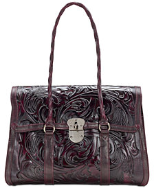 Patricia Nash Floral Vienna Tooled Leather Satchel