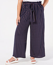 Monteau Trendy Plus Size Striped Wide-Leg Pants