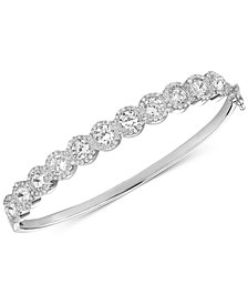 Tiara Cubic Zirconia Halo Bangle Bracelet in Sterling Silver