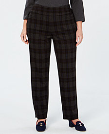 Charter Club Plus Size Plaid Pants, Created for Macy's