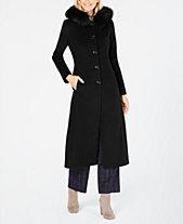 5ab4263624b19 Anne Klein Fox-Fur-Trim Hooded Walker Coat