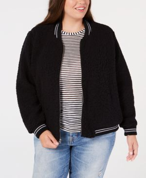 Trendy Plus Size Fleece Bomber Jacket, Lucky Black