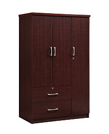3-Door Armoire with 2-Drawers, 3-Shelves