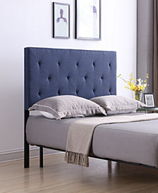 King-Size Upholstered Tufted Rectangular Headboard in Blue