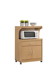 Microwave Kitchen Cart in Beech