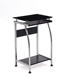 Tempered Glass Top Laptop Desk with Pull-out Keyboard Tray