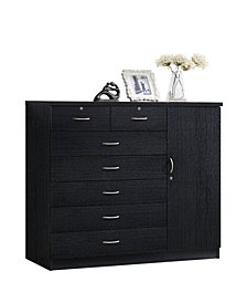 Hodedah  7-Drawer Chest with Locks on 2-Top Drawers plus 1-Door with 3-Shelves in Black
