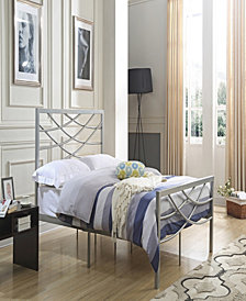 Complete Metal Full-Size Bed with Headboard, Footboard, Slats and Rails in Silver