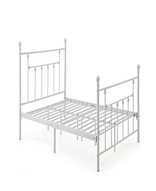 Complete Metal Full-Size Bed with Headboard, Footboard, Slats and Rails in White