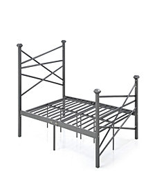 Complete Metal Queen-Size Bed with Headboard, Footboard, Slats and Rails in Charcoal