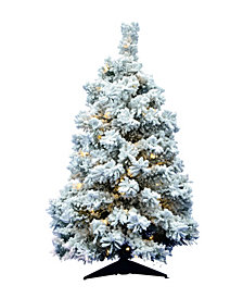 """36"""" Flocked Alaskan Pine Artificial Christmas Tree with 100 Warm White LED Lights"""