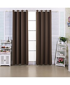 "63"" Edessa Premium Solid Insulated Thermal Blackout Grommet Window Panels, Hazelnut Brown"
