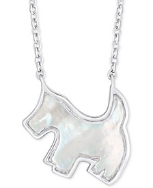 """Mother-of-Pearl Scottie Dog 18"""" Pendant Necklace in Sterling Silver"""