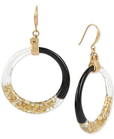 Robert Lee Morris Soho Gold-Tone Colorblocked Drop Hoop Earrings