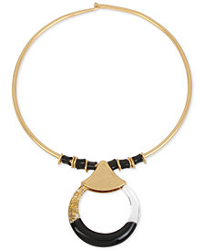 "Robert Lee Morris Soho Gold-Tone Bead & Colorblocked 17"" Pendant Necklace"