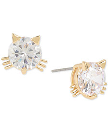 Betsey Johnson Gold-Tone Crystal Cat Stud Earrings