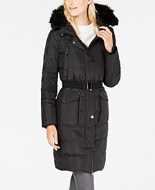 MICHAEL Michael Kors Faux-Fur-Trim Hooded Belted Puffer Coat
