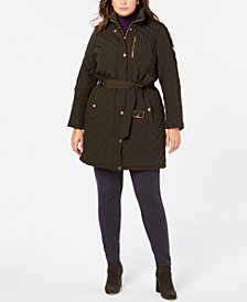 MICHAEL Michael Kors Plus Size Belted Quilted Hooded Coat