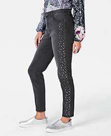 Style & Co Petite Studded Skinny Jeans, Created for Macy's