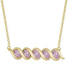 "Multi-Gemstone 18"" Pendant Necklace (1-1/4 ct. t.w.) 18k Gold-Plated Sterling Silver (Also in Amethyst, Blue Topaz, Citrine, Peridot  Rhodlite Garnet)"