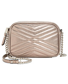 I.N.C. Glam Metallic Quilted Camera Crossbody, Created for Macy's