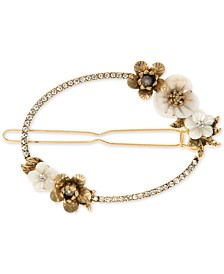 lonna & lilly Gold-Tone Crystal & Imitation Pearl Flower Hair Barrette, Created for Macy's