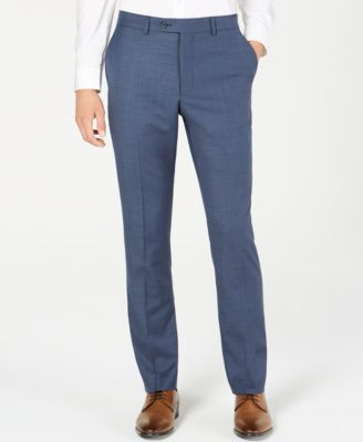 Men's Slim-Fit Sharkskin Solid Suit Pants