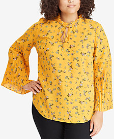 Lauren Ralph Lauren Plus Size Floral-Print Bell-Sleeve Top